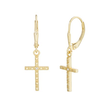 - Ladies Diamond Accent Cross Dangle Earrings in Yellow Gold Plated Sterling Silver