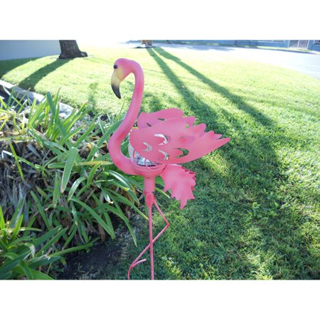 Flamingo Garden Stake Glass Crackle Solar Light  Pink