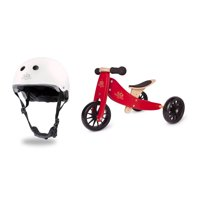 Kinderfeets White Adjustable Kids Helmet Bundle with Red Balance Trike Tricycle