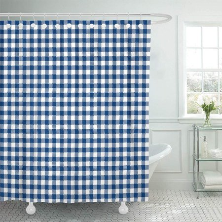 BSDHOME Plaid Navy Blue Gingham Pattern Check Abstract Birthday Black Celebration Chequered Bathroom Shower Curtain 66x72 inch - image 1 de 1