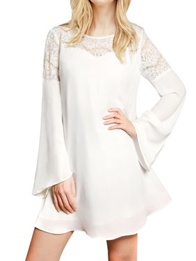 Women's Lace Panel Long Bell Sleeves Round Neck Pullover Mini Chiffon Dress