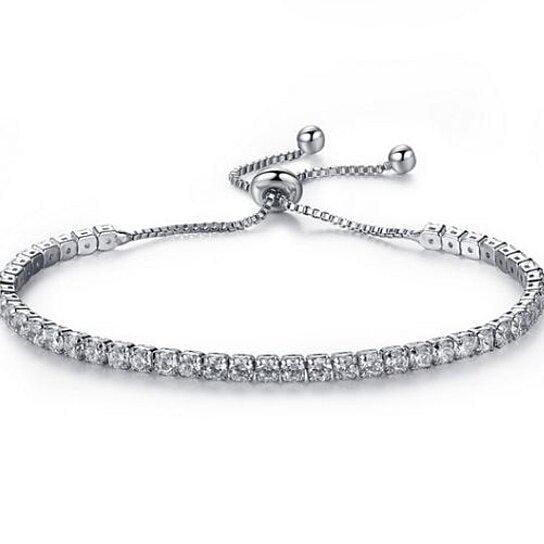 Round Cut Swarovski Elements Crystal Adjustable Tennis Bracelet