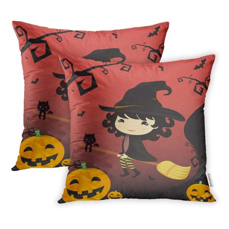 USART Cute Halloween Witch Riding with Broom Bat Black Branches Silhouette Cartoon Pillowcase Cushion Cover 16x16 inch, Set of 2