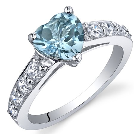 1.50 Ct Swiss Blue Topaz Engagement Ring in Rhodium-Plated Sterling Silver ()