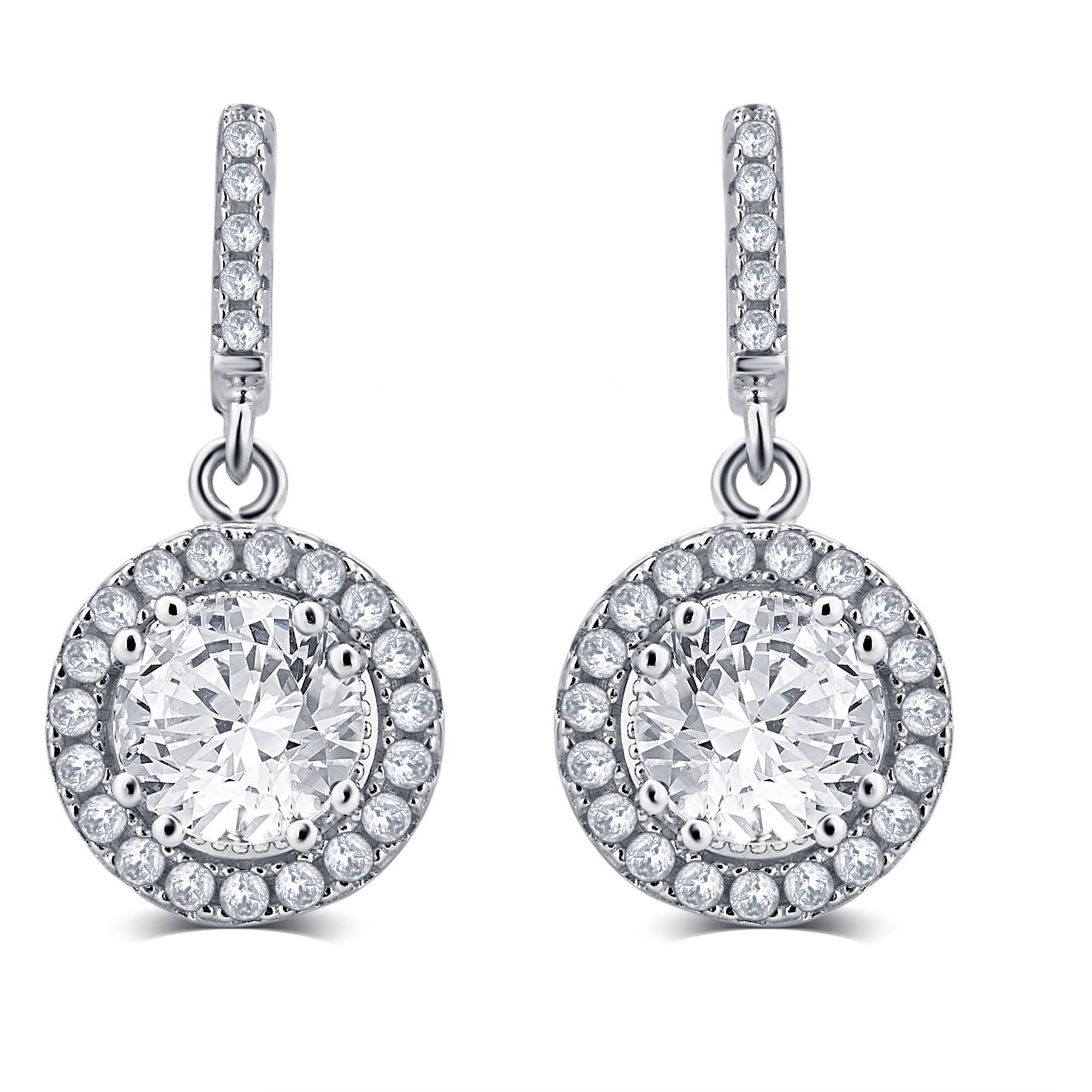 1.00 Carat T.G.W. White Round-Cut CZ Sterling Silver Drop Earrings
