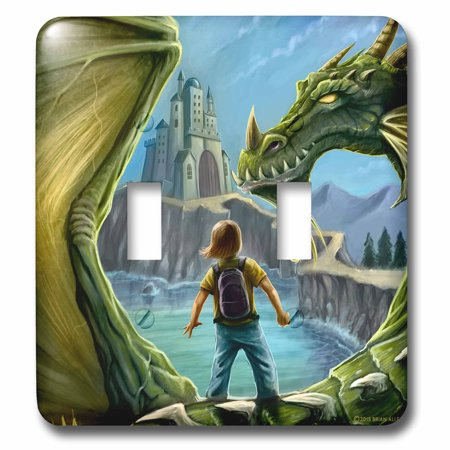 3dRose Magical Mystical Dragon with a boy on his back going to school - Double Toggle