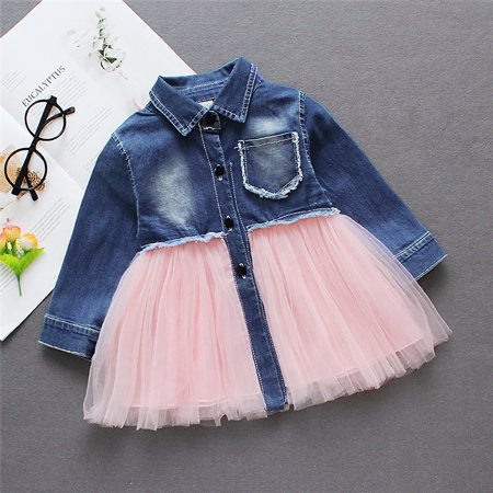 Summer Toddler Baby Girl Casual Long Sleeve Denim Tulle Party Dress Clothes 6-9Months - Casual Dresses For Girl