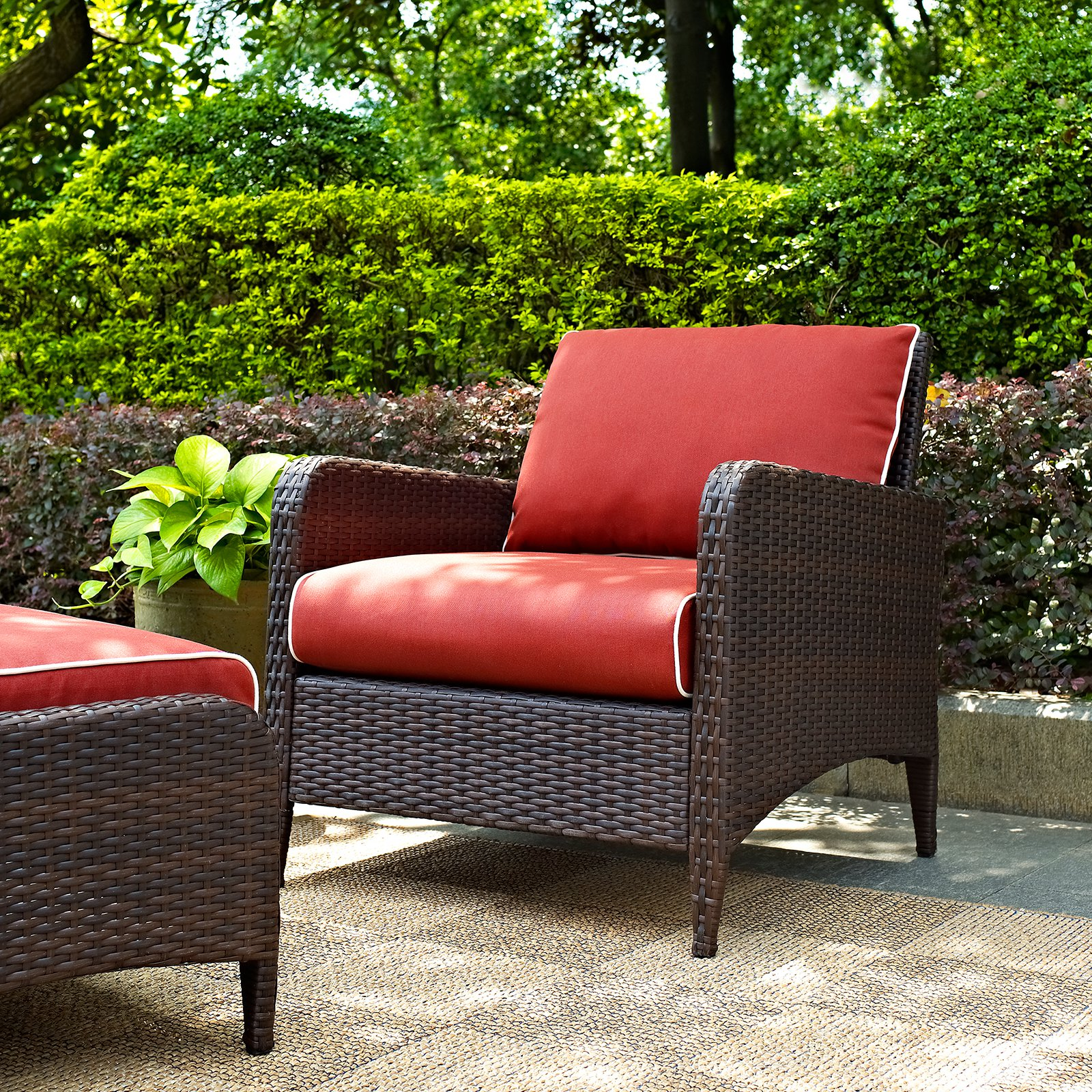 Crosley Furniture Kiawah Outdoor Wicker Arm Chair, Sangria Cushions