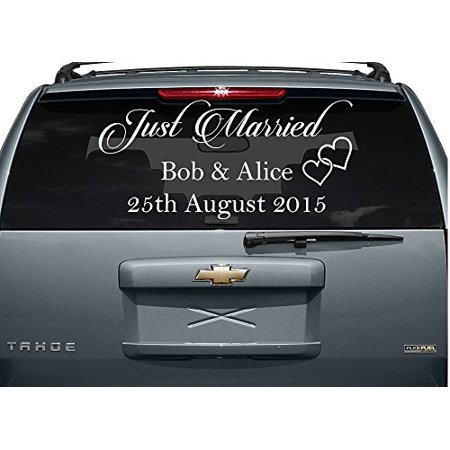 Just Married #2 (Custom Names and Date) Window Decal 12