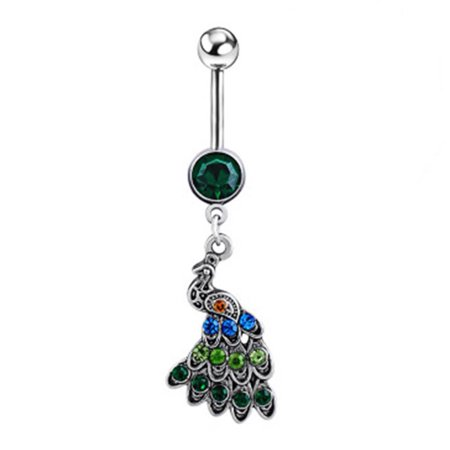 Qiilu Women Special Peacock Shape Navel Button Alloy Body Jewelry, Alloy Navel Button,Navel Button - image 2 of 6