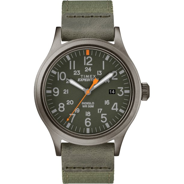 Men's Expedition Scout 40 Green/Gray Watch, Leather/Nylon Strap