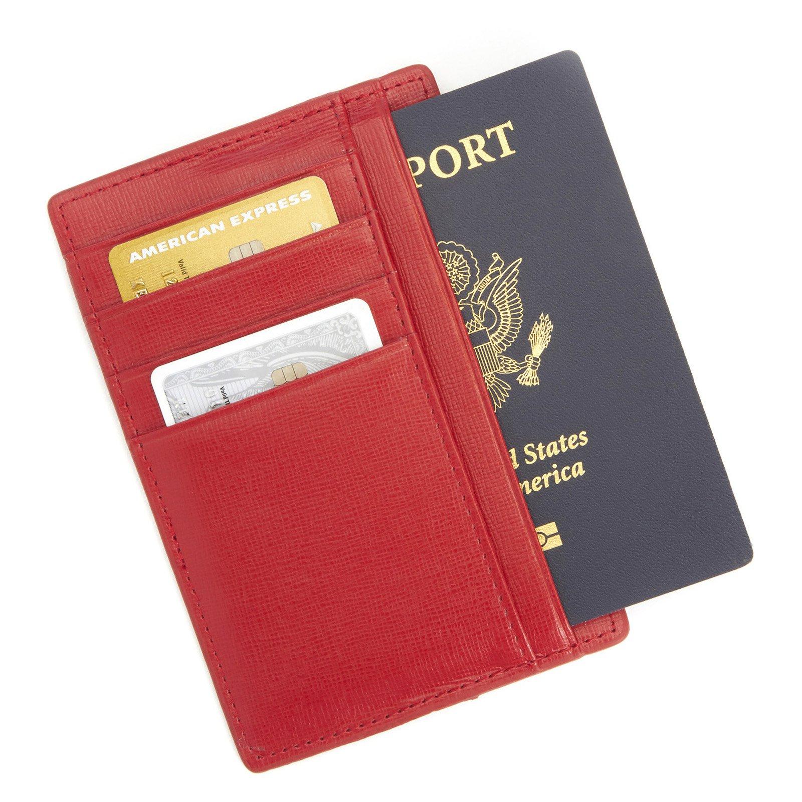 Royce Leather RFID Blocking Slim Travel Passport Wallet in Saffiano Genuine Leather - image 4 of 5