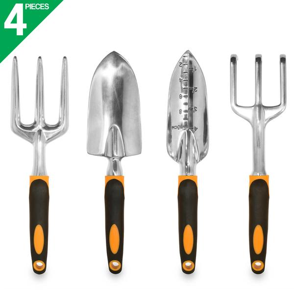 GardenHOME Ergonomic Garden Tools 4 Piece Tool Set with Trowel, Cultivator, Transplanter... by