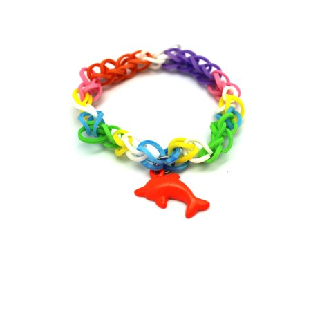 Orange Dolphin Charm With Rainbow Loom Rubber Band Bracelet](Rubber Band Charms Halloween)