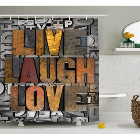 Live Laugh Love Shower Curtain  Saying Promoting The Sacred Values Of Human Life In Colorful A Pattern  Fabric Bathroom Set With Hooks  69W X 70L Inches  Multicolor  By Ambesonne