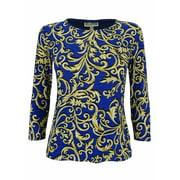 JM Collection Women's Jacquard Knit 3/4 Sleeve Top