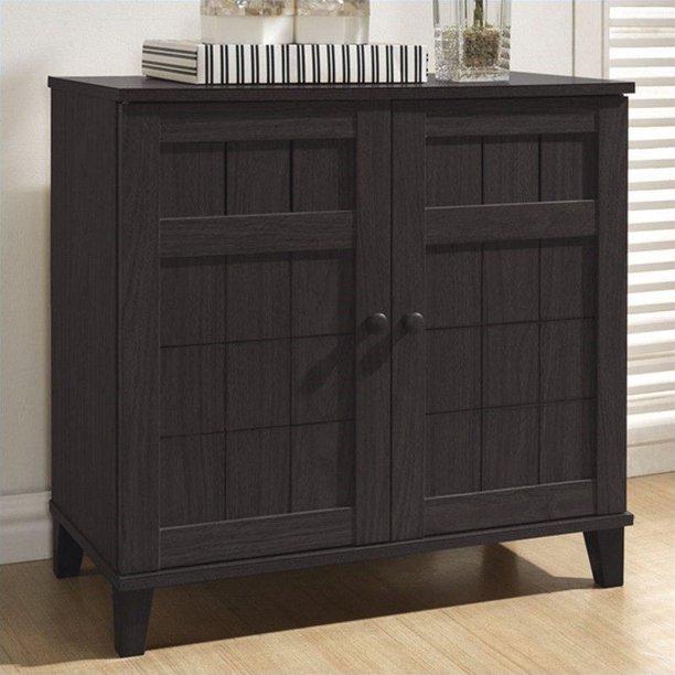 Glidden Dark Brown Wood Modern Shoe Cabinet, Short