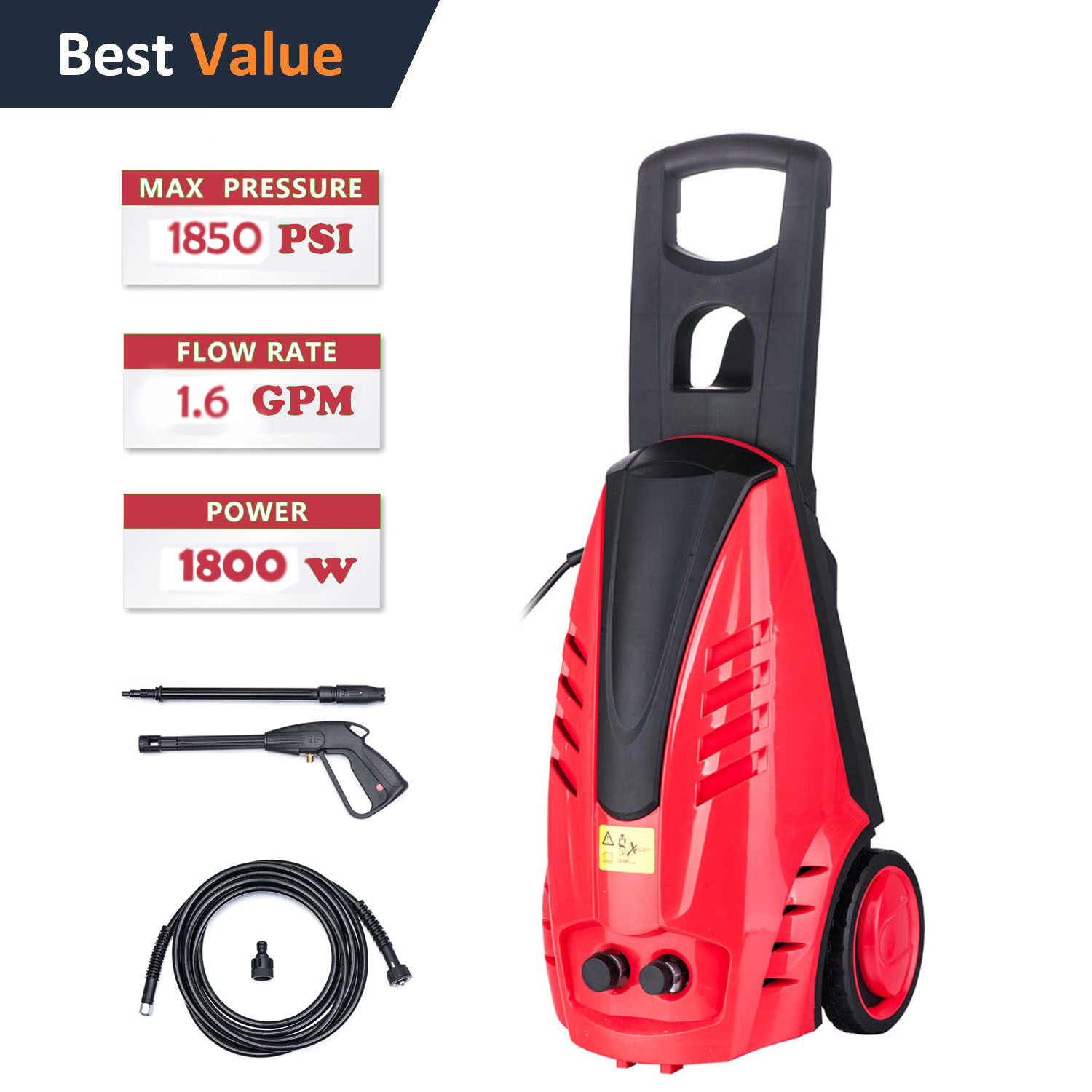 Ktaxon 1800W 1850PSI Electric Dual Sprayer High Pressure Cleaning Machine, Portable Wash Tool, Home Improvement Garage Cleaning Tasks Perfect Tool, for Car Deck Siding Sidewalk Driveway Path Road