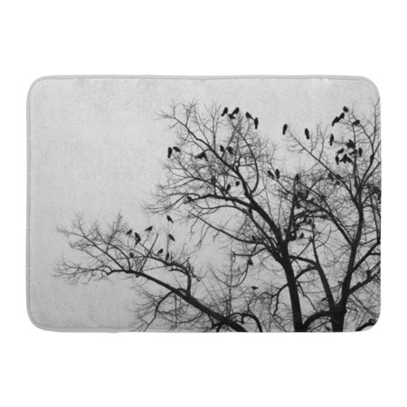 GODPOK Beautiful Black Animal Crows in Trees Darkness Halloween Birds Nest Red Autumn Branch Rug Doormat Bath Mat 23.6x15.7 inch](Black Tree Branches Halloween)