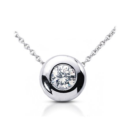 0.50ct G-I1 Exc Round Certified Diamond 14k Bezel Setting Solitaire Pendant 2.4g ()