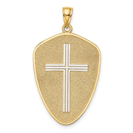 14k w/ RH Cross Shield w/ Joshua 1:9 On Reverse Charm K9179