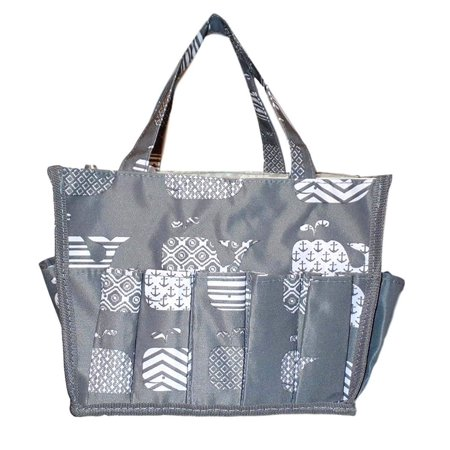 Small Fashion Organizing Tote Bag - 12 Outside Pockets - Personalization Available (Gray Whale)