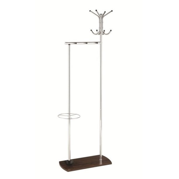 Bowery Hill Umbrella Stand Coat Rack in Walnut and Chrome