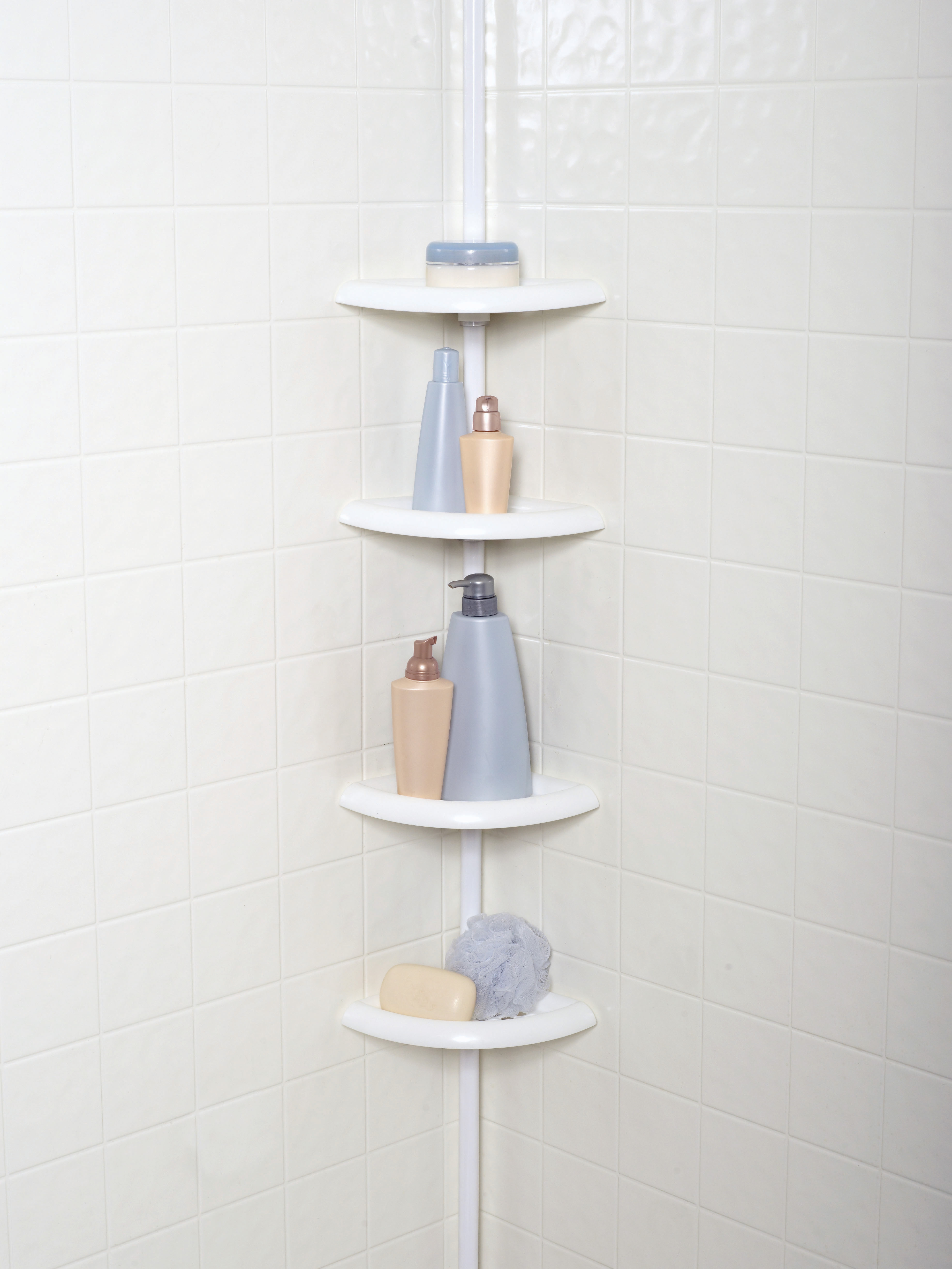 Mainstays 4 Tier Tension Pole Shower Caddy White Walmart Com