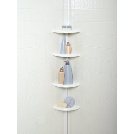 White Wood Caddy - Mainstays 4-Tier Tension Pole Shower Caddy, White