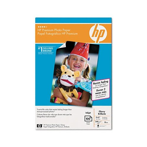 HP Glossy Premium Photo Paper, 4 x 6, 100 Sheets per Pack