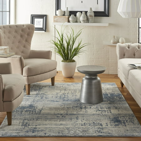 Nourison Rustic Textures Abstract Abstract Ivory/Blue Area Rug ()