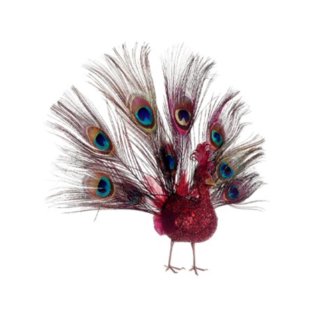 """Image of 10"""" Regal Peacock Glitter Drenched Vibrant Red Open-Tail Bird Christmas Ornament"""