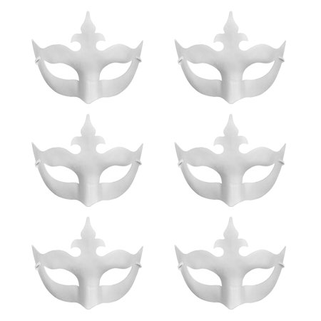 Aspire 6 PCS Blank DIY Masks Craft Paper Halloween Masquerade Face Mask Decorating Party Costume