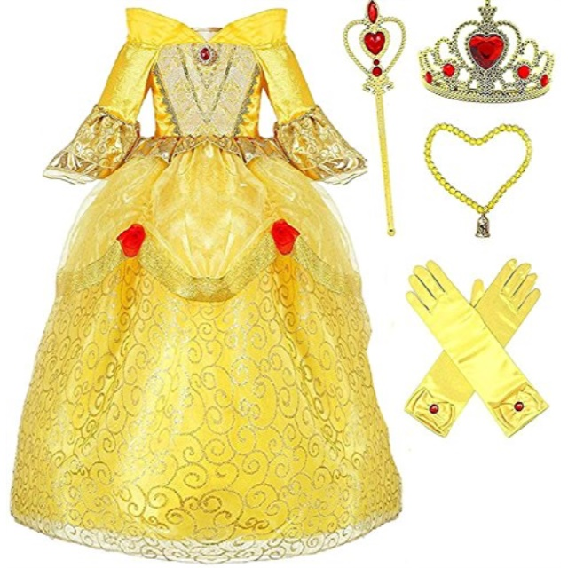 Princess Belle Deluxe Yellow Party Dress Costume 45, Style 3