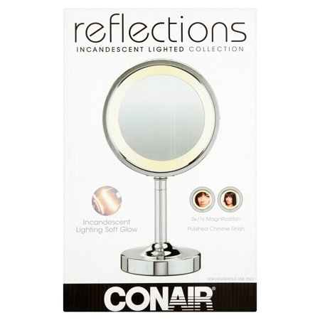 Conair Double-Sided Lighted Vanity Mirror; 1x / 5x Magnification, Chrome, BE152WX