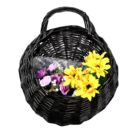 Moaere Hot Sale Handmade Rattan Flower Pot Plant Stand Holder DIY Home Wall Hanging Seagrass Woven Wicker Basket Decor ()