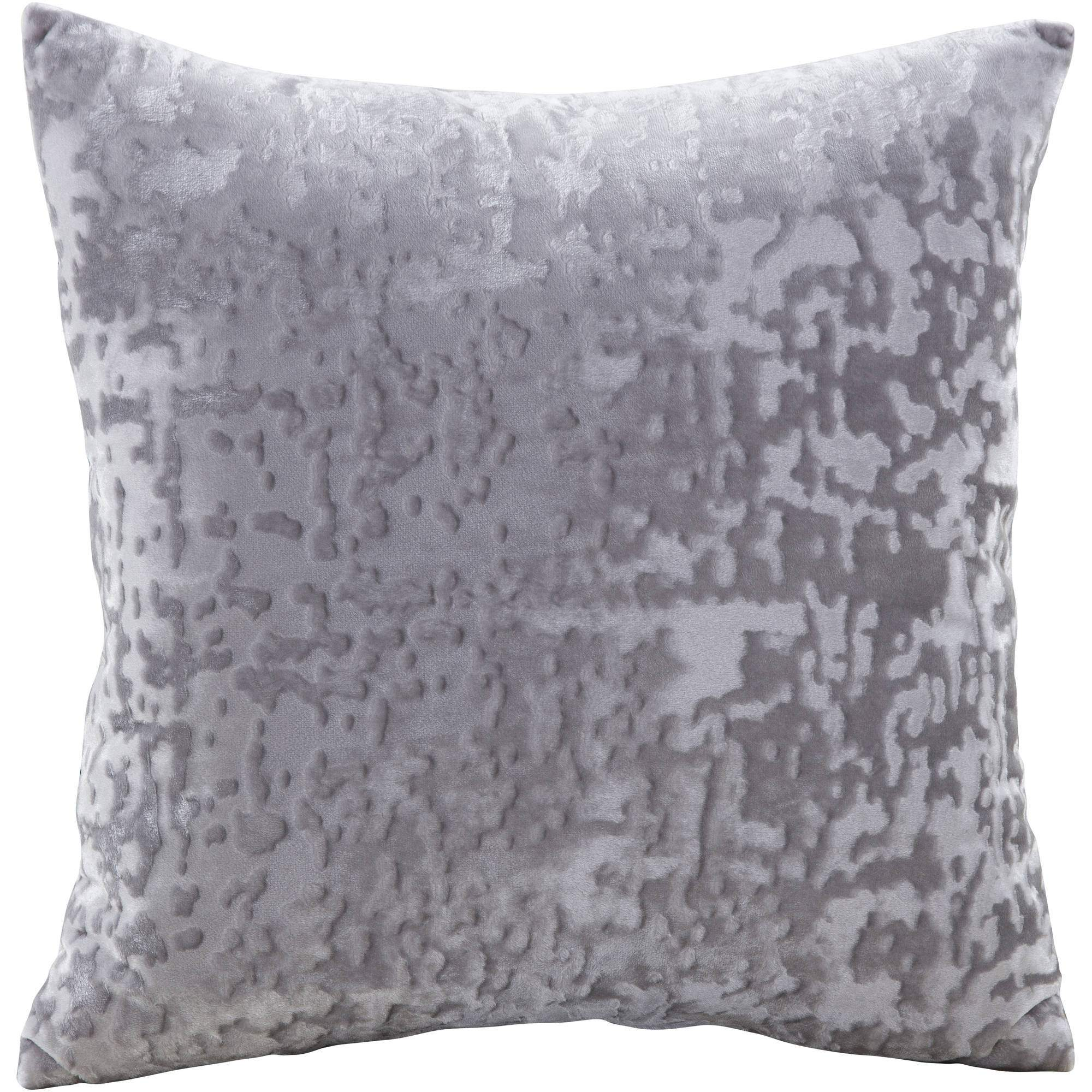 "Mainstays Velvet Decorative Pillow, 18"" x 18"", Grey"