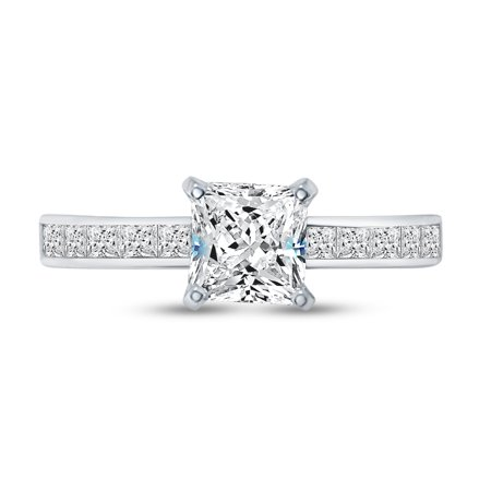 Sterling Silver Princess Cut Solitaire - Solid 925 Sterling Silver Princess Cut Invisible Band Solitaire Engagement Ring CZ Cubic Zirconia (1.50cttw., 1.0ct. Center) , Size 7