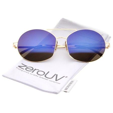 zeroUV - Modern Thin Metal Frame Brow Bar Colored Mirror Lens Round ...