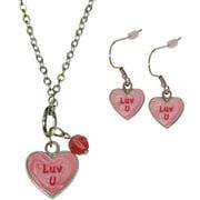 "Gloria Duchin Candy Heart ""Luv U"" Necklace and Earrings Set"