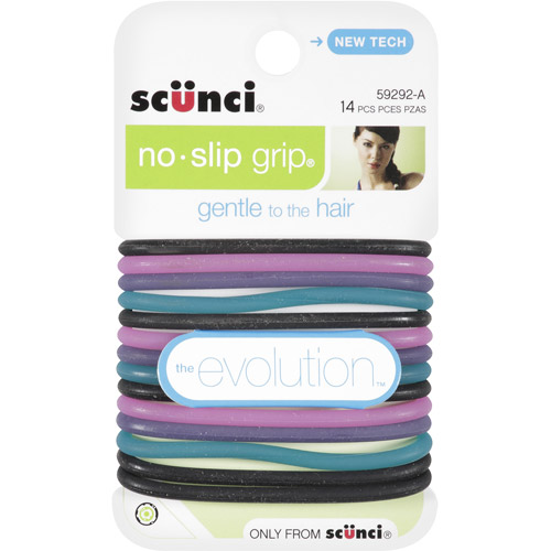 Scunci No-Slip Grip Evolution Jelly Ponytailers, Assorted Colors 14 ea