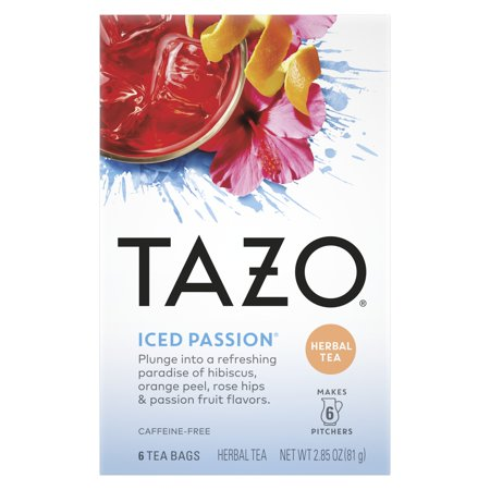 TAZO Iced Passion Herbal Pitcher Tea Bags, 6 Count