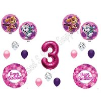 PAW PATROL SKYE & EVEREST 3rd Third Birthday Balloons Decoration Supplies Party Chase Ryder