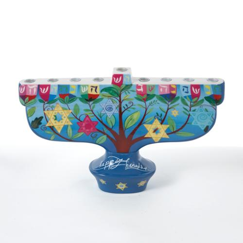 "9.5"" Porcelain ""Happy Hanukkah"" Menorah Table Top Decoration"