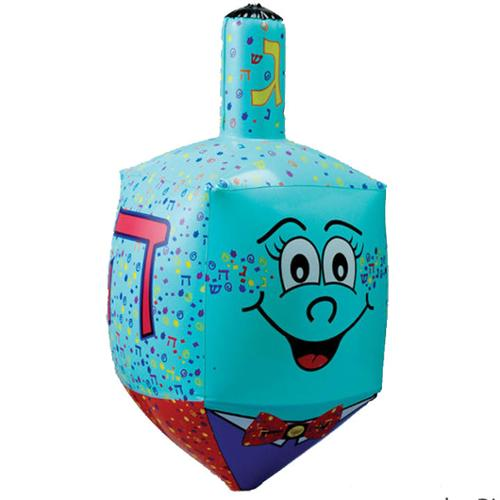 "23.5"" Large Blue Inflatable Hanukkah Dreidel Decoration with Smiley Face"