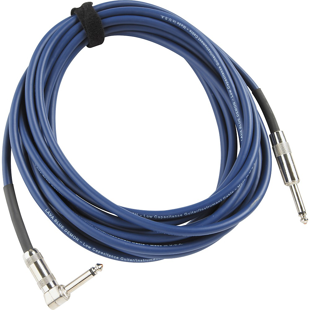 Lava Blue Demon Instrument Cable Straight to Right Angle Blue 15 ft.