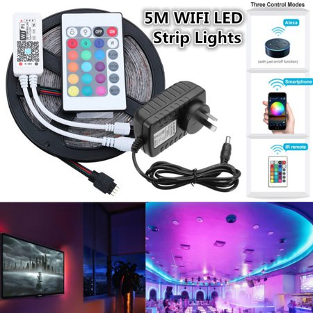 5M RGB Alexa Waterproof LED Strip Lights, Smart Home Wifi Wireless App Controlled Light Strip Kit Rope Decoration Lights Working with Android and IOS System,Alexa,Google DC12V - Black Light Decoration Ideas