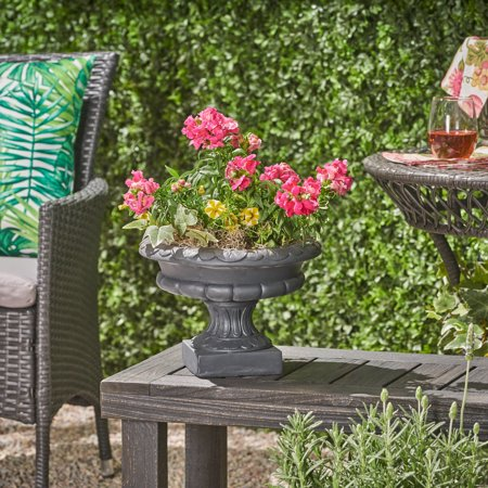 Breenda Chalice Garden Urn Planter, Roman, Botanical, Black Lightweight Concrete Light Duty Concrete