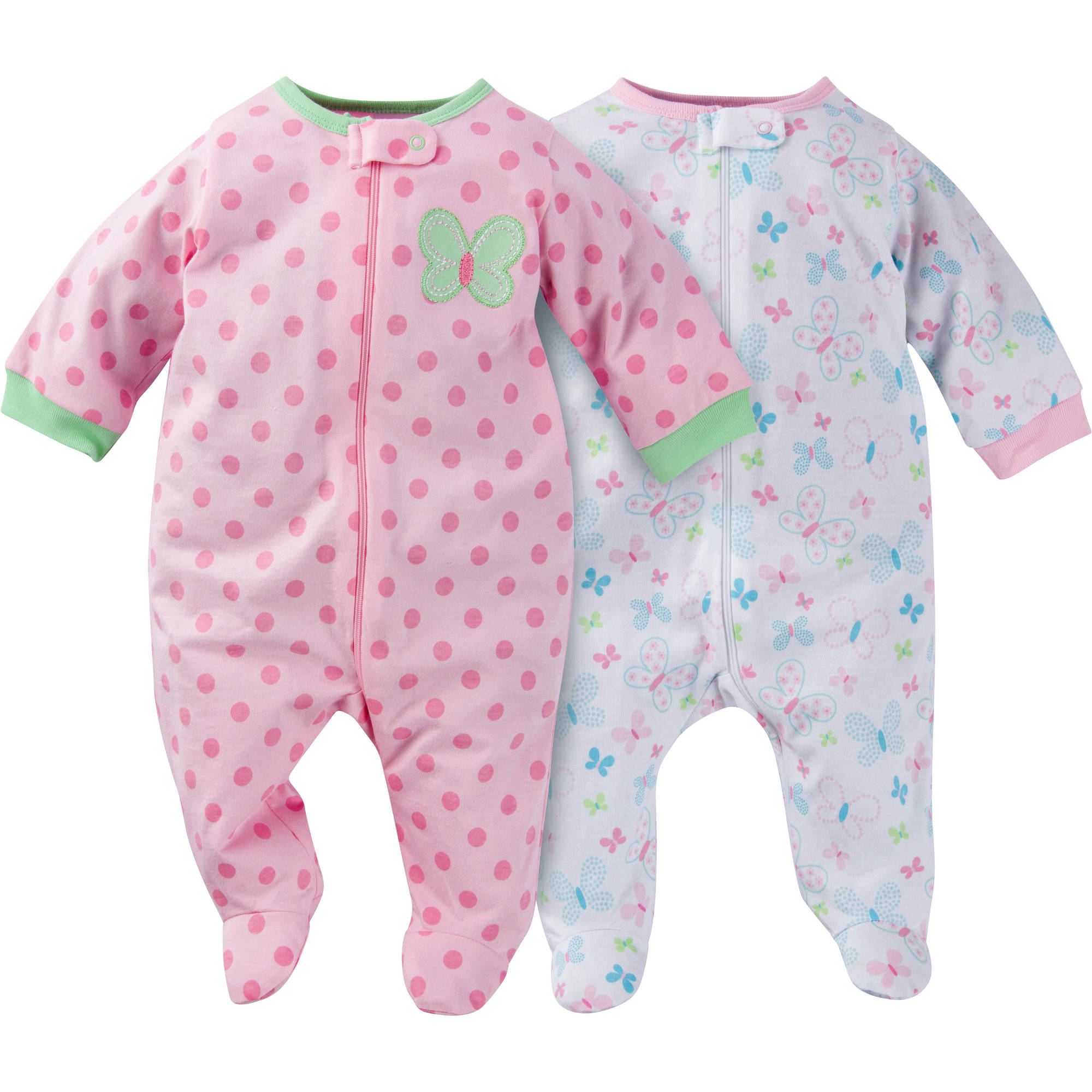 Gerber Newborn Baby Girl Zip Front Sleep N Plays, 2-Pack