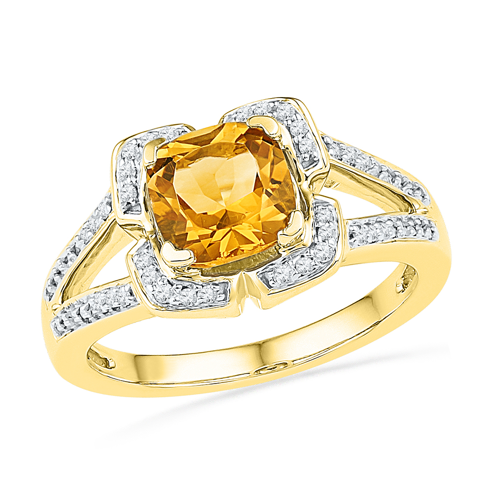 Size 7 Solid 10k Yellow Gold Simulated Citrine Cushion Round Yellow Simulated Citrine And White Diamond Engagement Ring... by AA Jewels